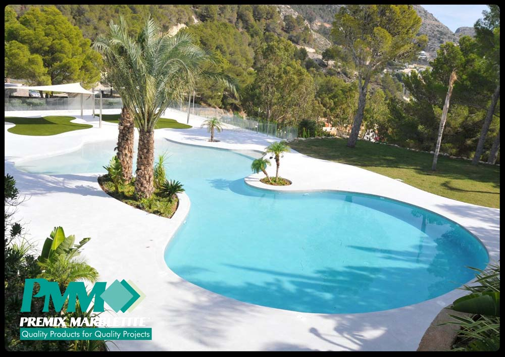 Construcci n de piscinas tipo playa premix marbletite Construccion de piscinas economicas
